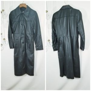 Maximo Wilsons Leather Woman's Black Trench Coat